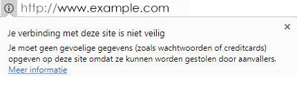 melding niet veilig bij http